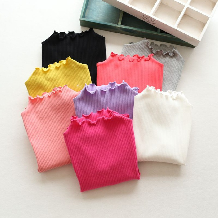 How lovely 2016 spring Kids Girls T-shirt shirt collar thread Wavy long sleeved jacket(China (Mainland))