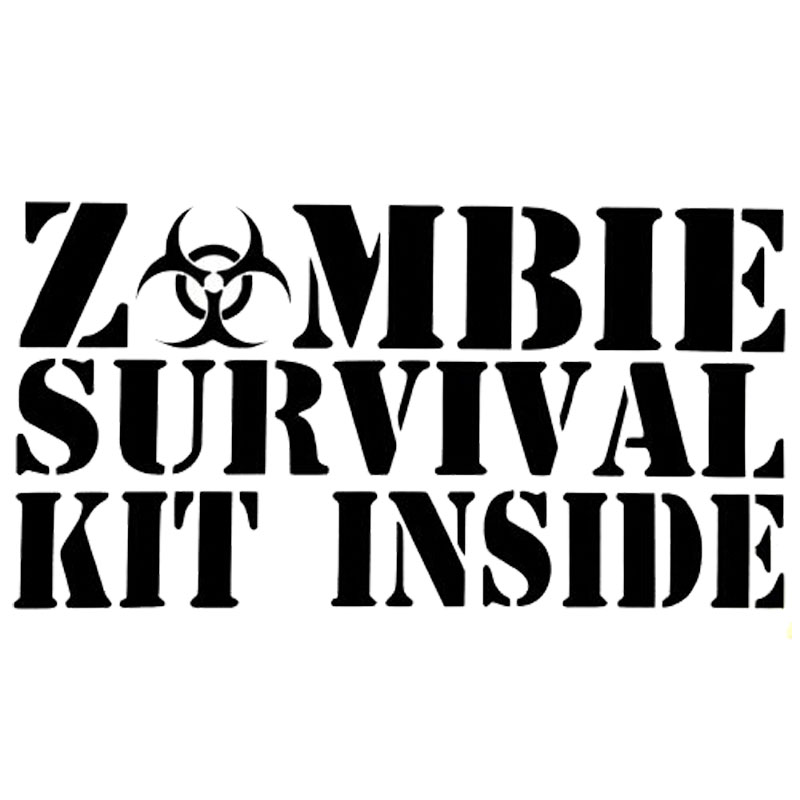 15.5CM*8CM Film Classic SURVIVAL KIT ZOMBIE INSIDE Vinyl Creative Fashion Stickers C5-0777(China (Mainland))
