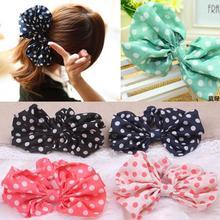 Kawaii Girl Charming Big Dot Bowknot Printed Hair Bands Hair Rope & Ring for Baby Girl Princess 5pcs/lot ARC498