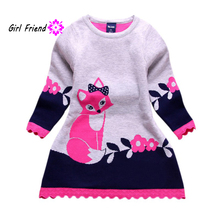 Buy Children Winter Spring Double-layer Long Sleeve Kids Fox Clothing Thick Girl Fox Sweater Dress 4-8 Years A08 for $5.25 in AliExpress store