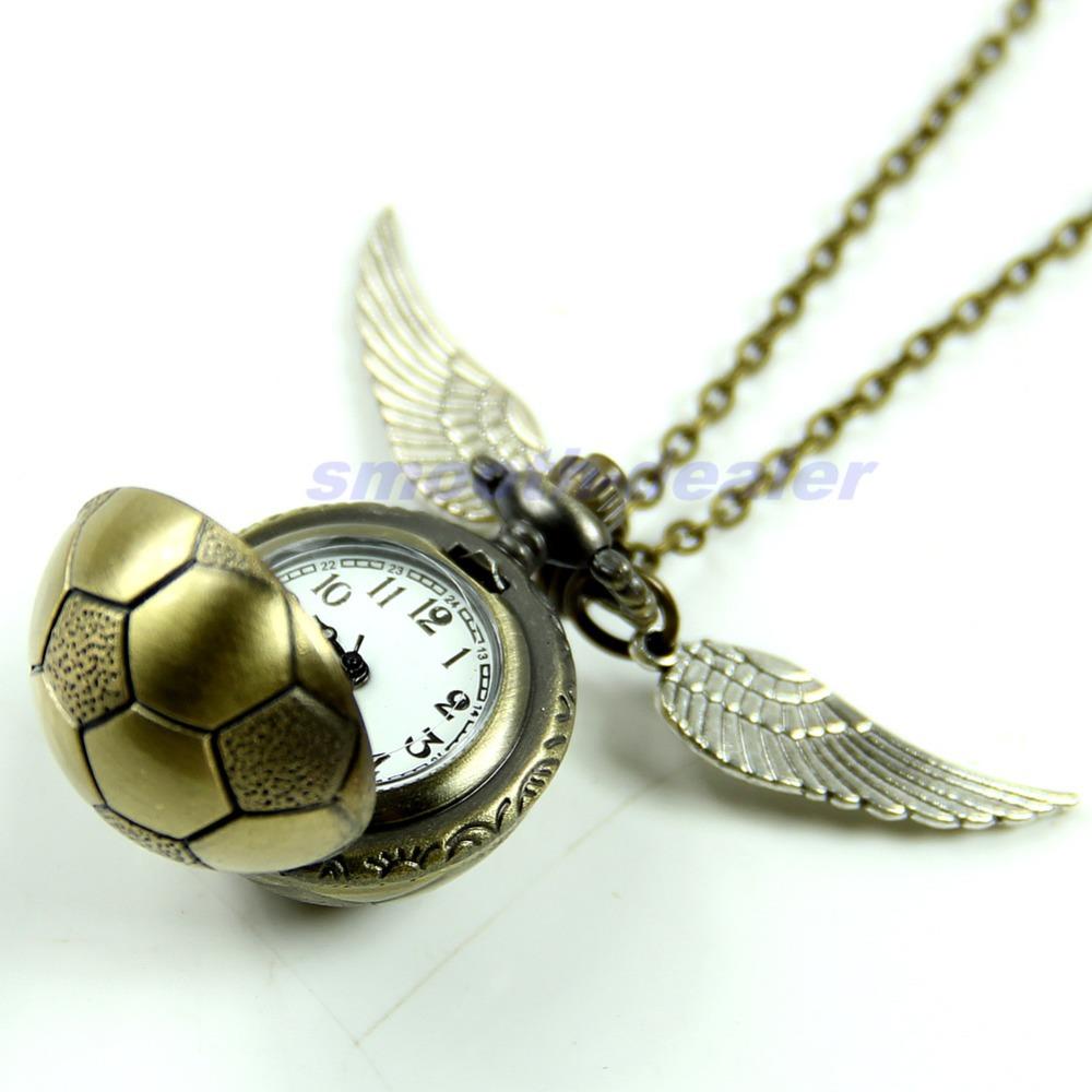 1pc Retro Football Metal Steampunk Quartz Necklace Pendant Chain Small Pocket Watch(China (Mainland))