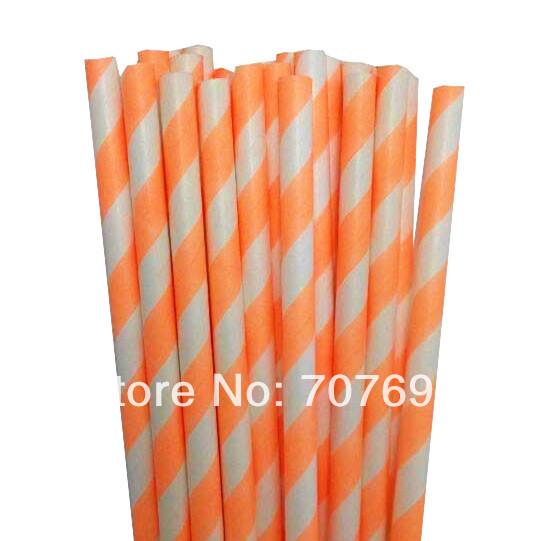 Free shipping Neon Fluorescent Orange Stripe Paper Straws Cheap Paper Straws, Drinking Paper Straws Manufacturer 1000pcs(China (Mainland))