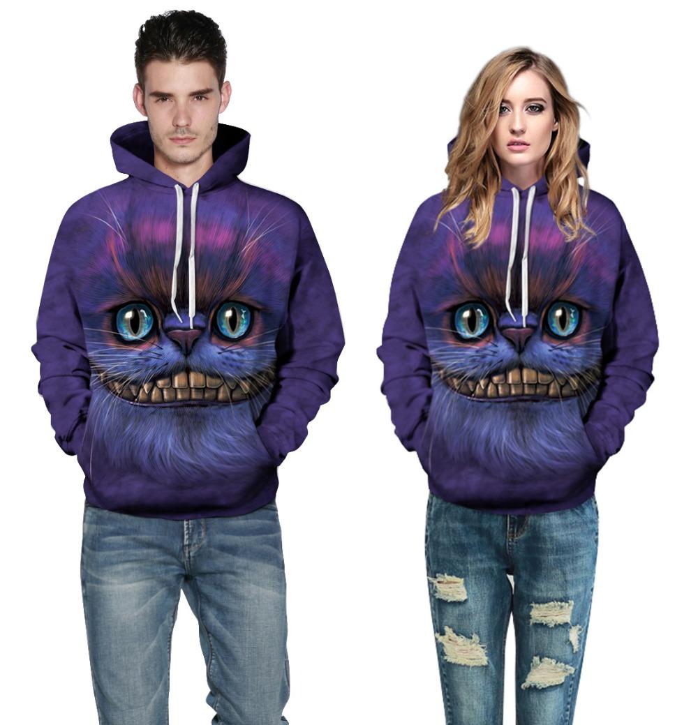 Adogirl Women Purple Autumn Sweatshirt Cheshire Cat Print Hoody Pullovers 2016 New Men Hooded Sweatshirt Lovers Big Size Hoodies(China (Mainland))