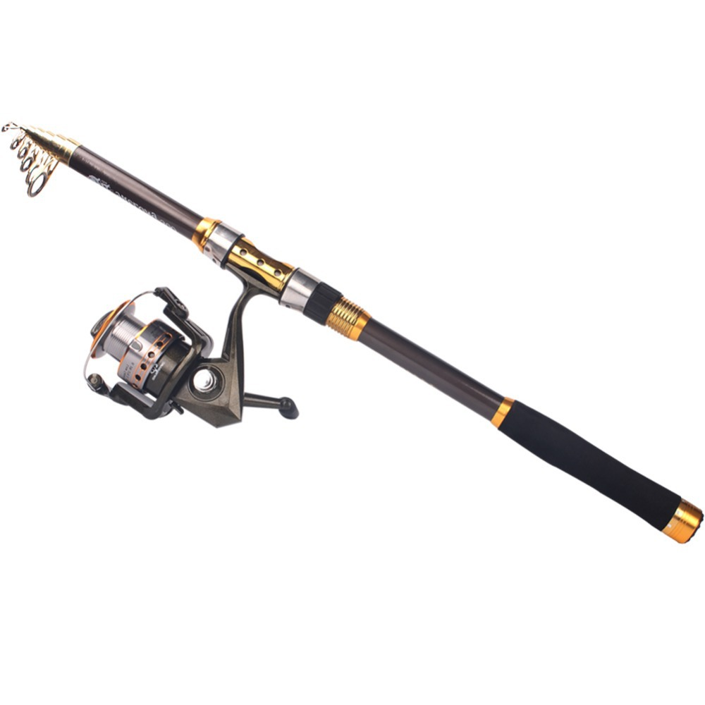 Spinning travel portable fishing rod and reel telescopic for Cheap fishing rods and reels combo
