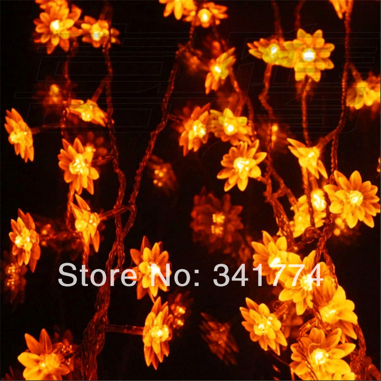 Fairy 5m 24 leds LED Crystal Lotus Flower String Lights Lamps Home Garland Garden Party Wedding ...