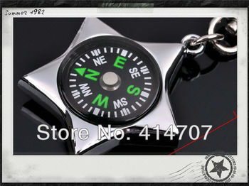 Free Shipping Hot Selling Metal Five-pointed Star Key Ring Promotional Gift Key Chain with Compass Key Holder D0030