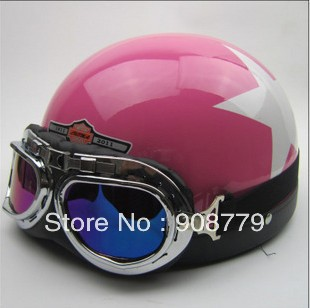 Free shipping Motorcycle Half Face Motorbike Victory Helmet Motorcycle Racing Helmet With Hot Goggles Pink with star D-633PS(China (Mainland))
