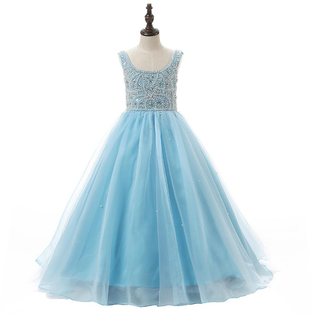 Princess baby blue flower girls dresses for weddings with for Dresses for girls for wedding