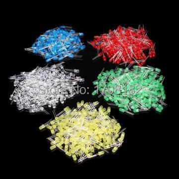 500Pcs/lot 5MM LED Diode Kit Mixed Color Red Green Yellow Blue White(China (Mainland))