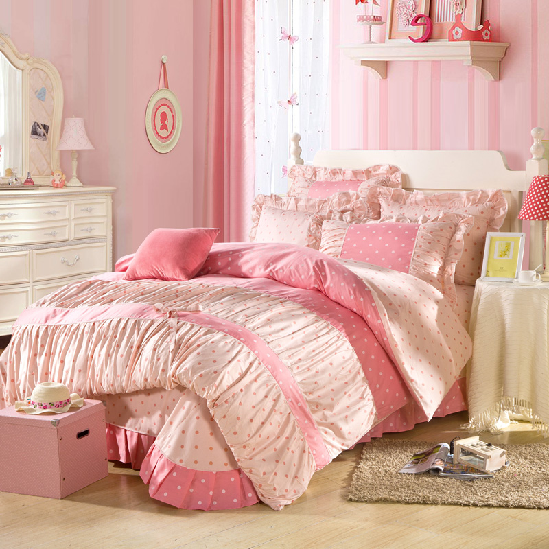 Candy Pink Princess Girls Bedding Set 100 Cotton 4pc