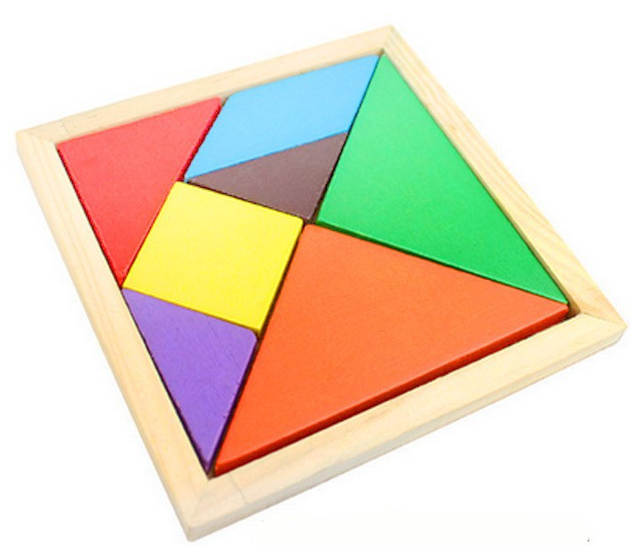 Educational Wooden Rainbow Color Jigsaw Puzzle Large Size Tangram Intelligence Kids Toys for Children baby Learning Gift(China (Mainland))