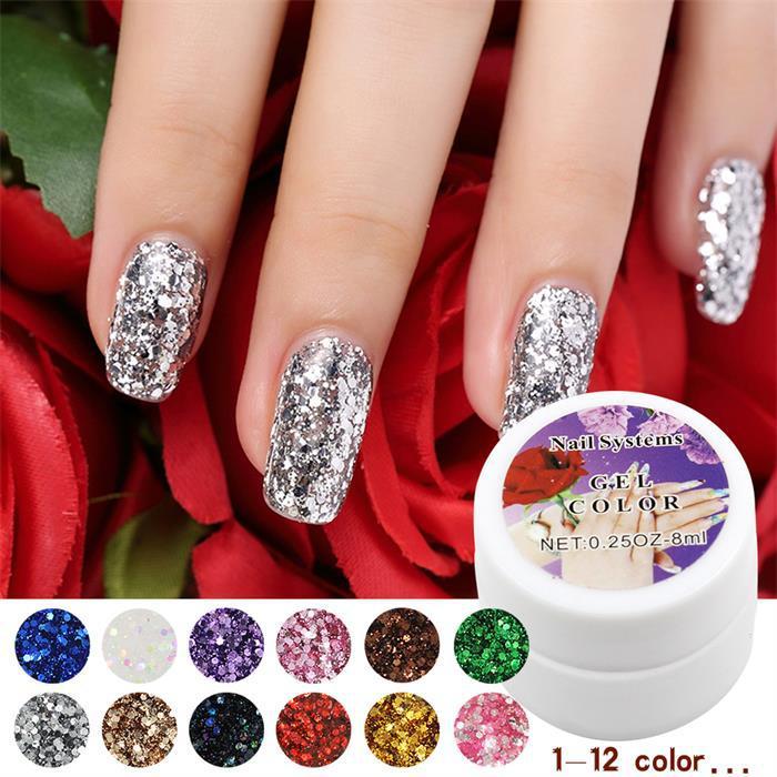 12 Colors Optional 1PCS retail Hot Sale Nail UV Gel Color For Nail Art Decoration Sequin Design Set(China (Mainland))