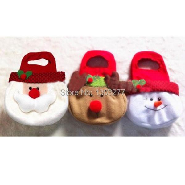 Adorable Christmas Candy Gift Bag Decor Reindeer Snowman Santa Claus Shape Gift bwof(China (Mainland))