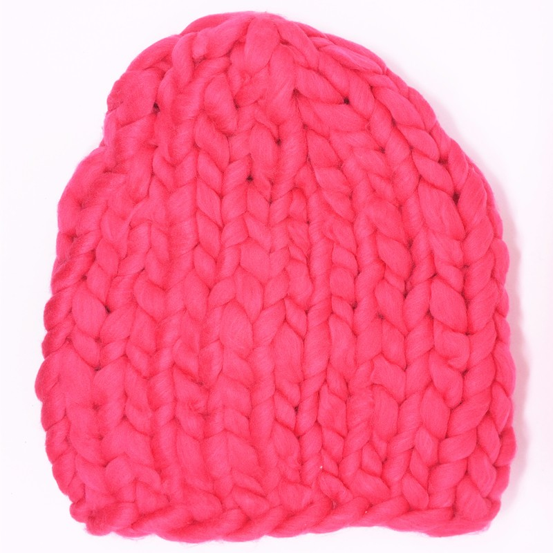 2016 Solid Adult Casual Cotton Acrylic Rushed New Fashion Female Winter Hats Hand Coarse Knitted Hat For Women Beanies
