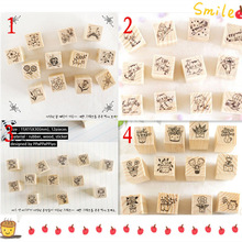 12 pcs/lot (1 bag) DIY Cute Cartoon Cats Flowers Girls Wood Stamps for Kids Decor Diary Scrapbooking Gift Free shipping 634(China (Mainland))