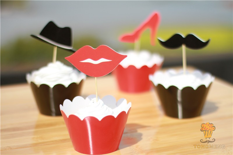 96pcs lips & Mustache, high-heeled shoes & hat cupcake wrappers decoration wedding party favors cake toppers AW-0054(China (Mainland))