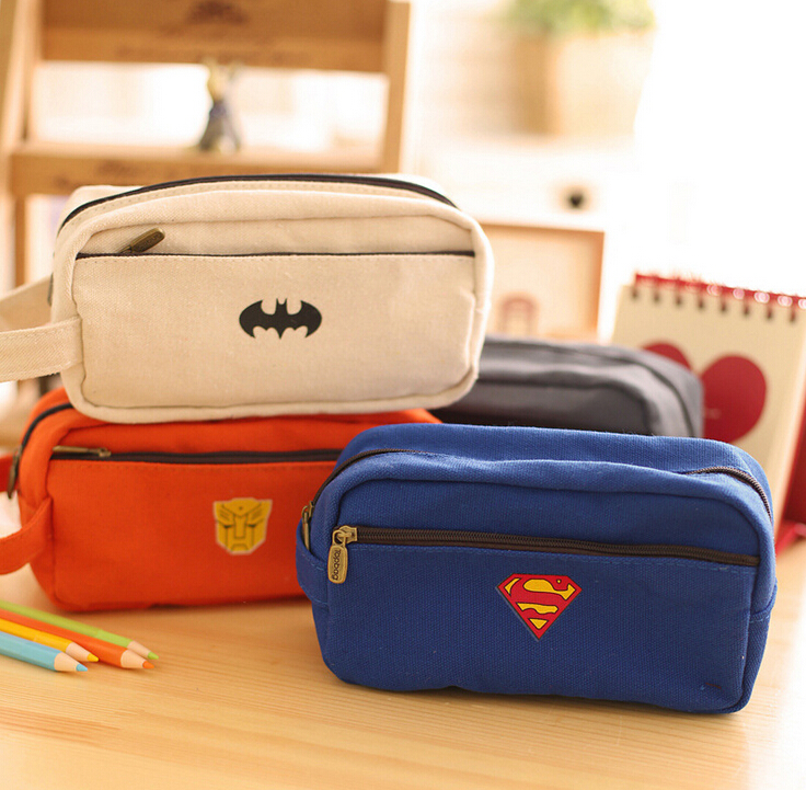 Surper Hero Series Pencil Case Big Capacity Pencil Bag Boy Girl Cartoon Box For Pens Double Zipper Cute Stationery(China (Mainland))
