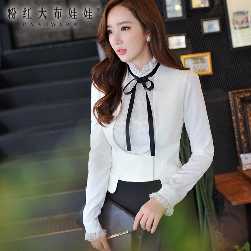 The white shirt female Pink Doll 2015 winter coat female white lace bow long sleeved shirt