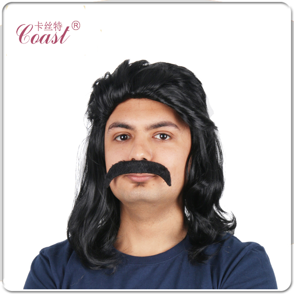 """6"""" (130g) Short Men Hair Wig Mullet Black Wig Wavy Synthetic Wigs For Halloween Costume Accessory Adult Size FullWigs QY-908045(China (Mainland))"""