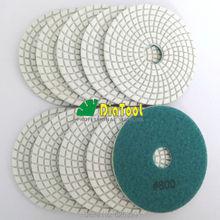 10pcs white bond 800# Diamond flexible Wet polishing pad for granite, marble and ceramic, Spiral type Dia 100mm/4″ Free shipping