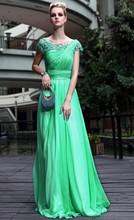 Cap Sleeve Floor Length Gown Vestidos De Gala A Line Scoop Neck Lace Appliques Long Prom Dress 2016 China Evening Gown(sf-e008)