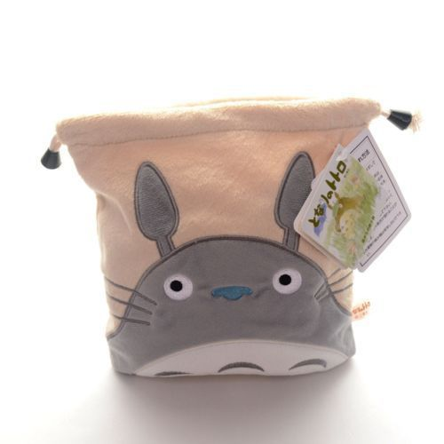 Cute Plush Beige My Totoro Sack Drawstring Storage Cosmetic Bag Pouch 8'' New Free Shipping #LNF(China (Mainland))