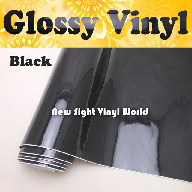 High Quality High Glossy Black Vinyl Wrap Black Gloss Wrap Film Air Bubble Free For Vehicle Wraps Size:1.52*30m/Roll