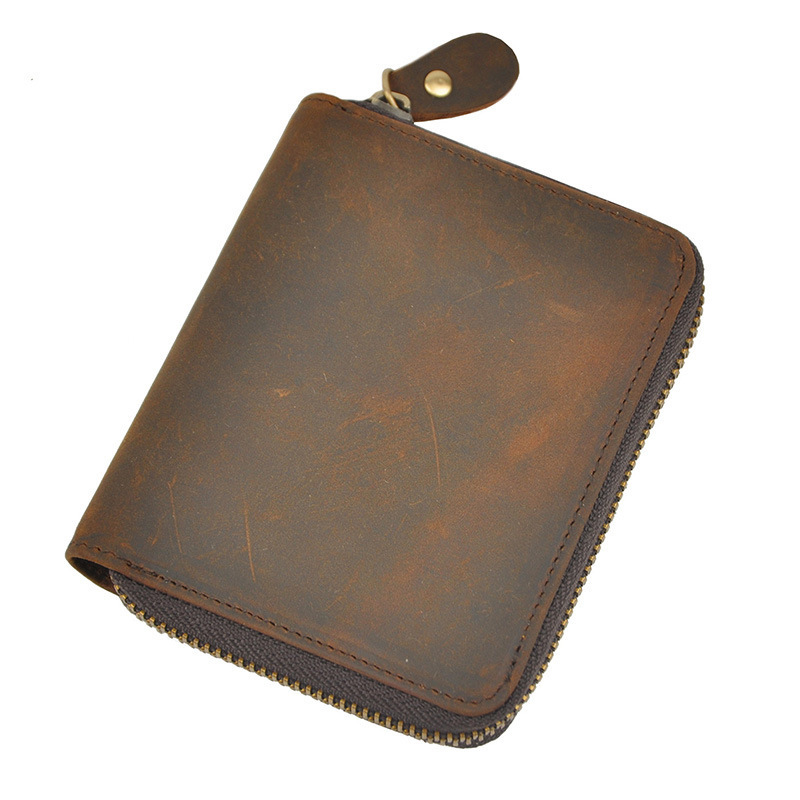 Crazy horse leather men wallets brand design purse card vintage wallet card holder short zipper wallets men 2015 New arrival