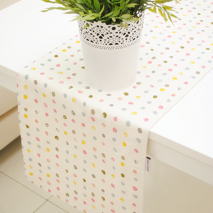 Cute Style Colorful Candies Cotton+Linen Table Runner Double Sides Accept Customized 30*120cm 30*150cm 30*180cm 30*210cm(China (Mainland))