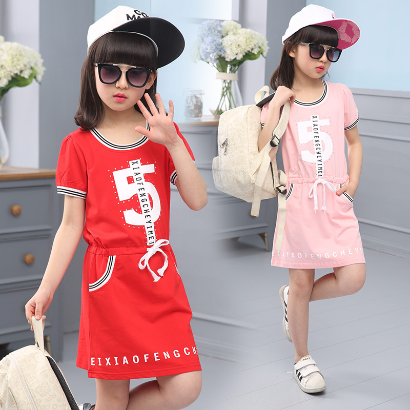 free shipping 2016 girl clothes cotton dress children's clothing letter dress,baby girls summer o-neck dress size 120-160(China (Mainland))