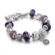 Valentine's Day Fashion DIY Crystal&Glass Beads Charm Bracelets For Women Snake Chain Bracelets & Bangles Pulsera SBR150295(China (Mainland))