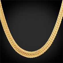 Gold Foxtail Necklace 18K' Stamp Platinum/18K Real Gold Plated/Rose Gold Trendy 46CM/ 55CM/66CM Gold Chain Necklace For Men N942(China (Mainland))