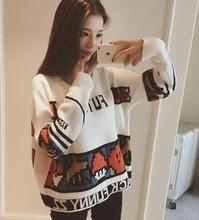 Woman sweater winter 2015 fashion cartoon sweaters ugly long sleeve o-neck oversized christmas sweaters for women YSY 86