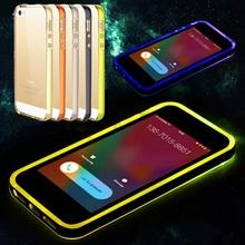 Smart Shiny LED Flash Light Back Case Luminous TPU+PC Transparent Bumper Phone Cover For iPhone 5 5S(China (Mainland))