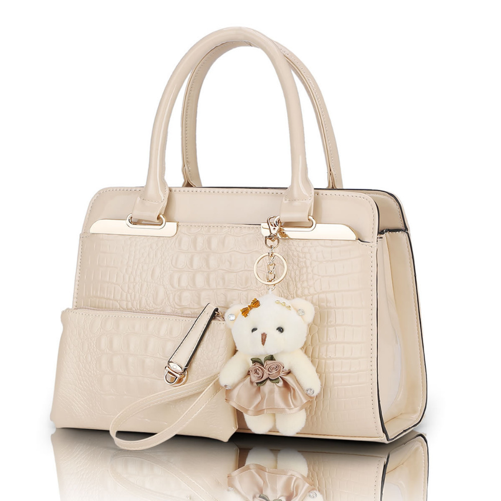 new European and American fashion casual alligator pattern handbag patent leather shoulder bag 2 bags/set with bear tool Q0(China (Mainland))