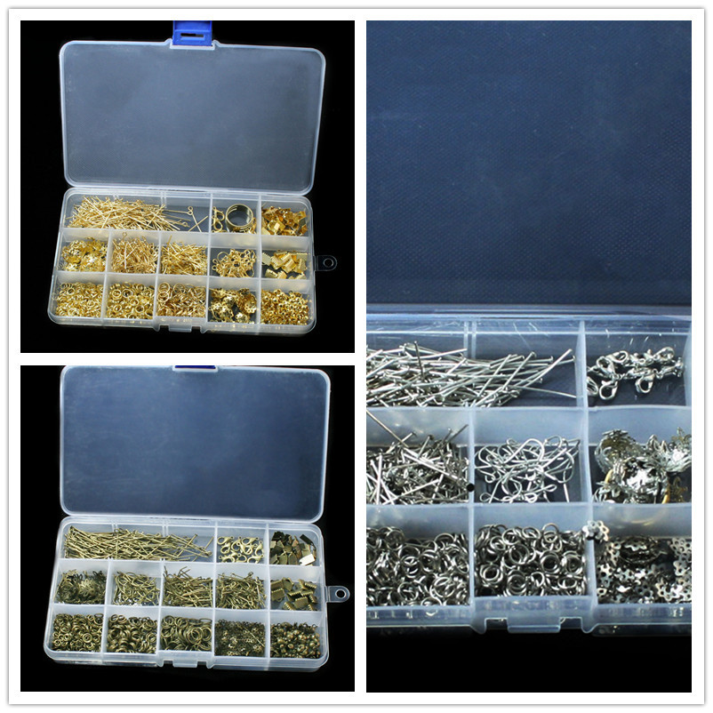 Jewelry Findings Accessories Kit box set Beads caps jump rings clasps pins tools for DIY Fashion Charms jewelry making BDH010(China (Mainland))