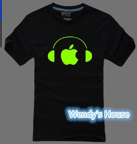 An apple is listening to music T shirt Luminous fluorescent Light In The Dark shirts Men women summer cotton tees Free Shipping(China (Mainland))