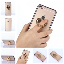 Fashion Finger Ring TPU Bling Glitter Shimmering Case Cover For Apple iPhone 6 6S Case 4.7″ Cover Phone Bag Protective Shel