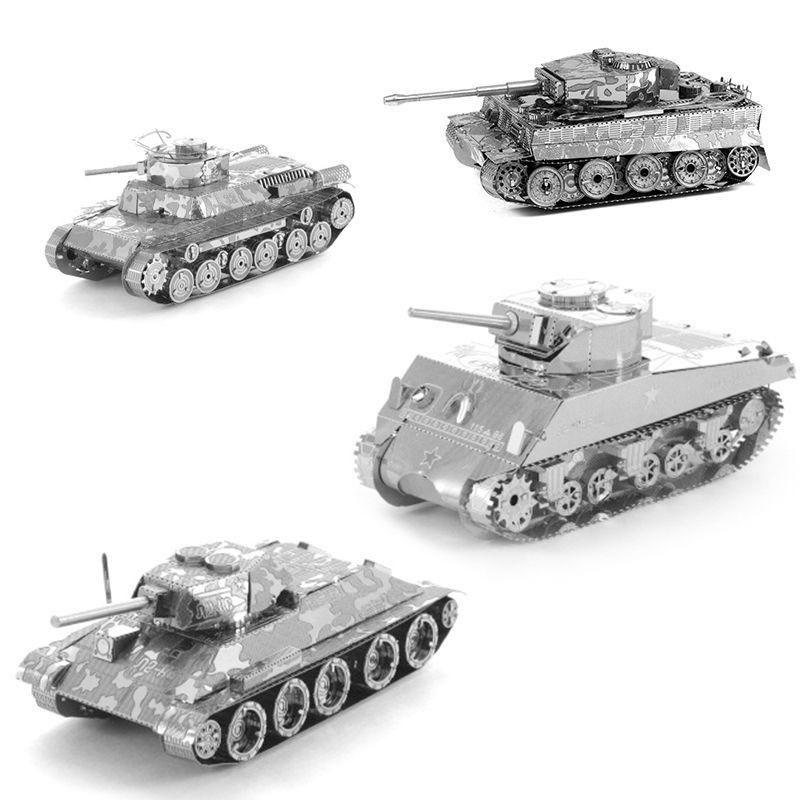 3D Metal Puzzles for children Adults Model Toys Jigsaw Metal Tank T34 Tank Japan 97 Tank Scherman Tank puzzles educational toys(China (Mainland))