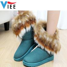 winter warm women's snow boots artificial fox rabbit fur leather tassel women winter shoes H1235(China (Mainland))