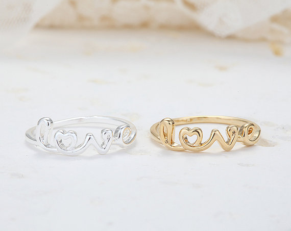 Cute Love Initial Ring - Silver Rhodium Plated, Everyday Jewelry, Simple, Chic, Birthday Gift<br><br>Aliexpress