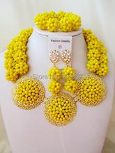 Luxury Opaque Yellow Crystal Ball women necklaces costume jewellry nigerian wedding african beads jewelry set ABC864(China (Mainland))