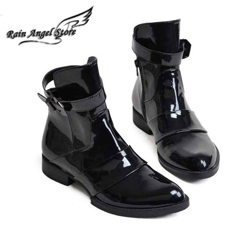 British Men Boots Pointed Toe Patent Leather Boots Male Autumn And Winter Shoes Korean Punk Boots Black Bota Masculino