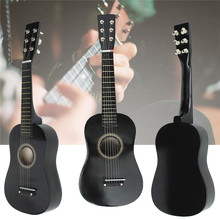 New Wooden Basswood Plywood Panels Wire strings Black Guitar Acoustic Instrument Kids Music 586 x 185 x 58mm(China (Mainland))