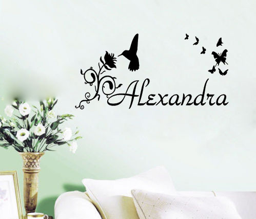 Personalised Custom Name Flower Hummingbird - Say Quote Word Lettering Art Vinyl Sticker Decal Home Decor Words(China (Mainland))