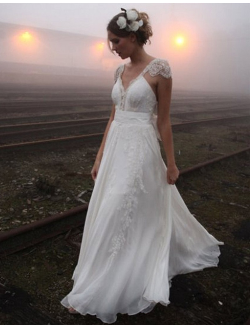 2016 vintage chiffon lace wedding dresses sleeve romantic for Wedding dresses for tall skinny brides