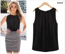 Solid Simple Design 2016 Summer Women Blouses Sleeveless Casual Chiffon Blouse Cute Pullover Blusas Femininas Tops Shirt Women
