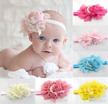 New stock rose pearl flower hair accessories girls headwear infant boys children baby hair headband FD214