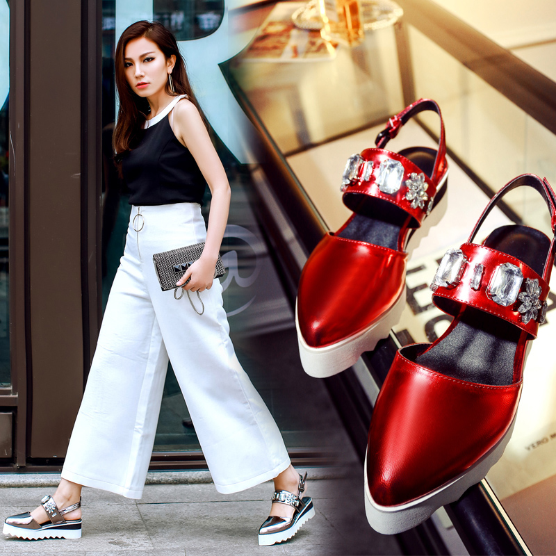 Summer 2016 Fashion Shoes Woman Plus Size Closed Toe Crystal Lady Red Blue Silver Low Heel Women Platform Sandals Casual Wedges<br><br>Aliexpress