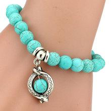 Women's round natural stones bracelet Lava Turquoise Vintage Onyx beads bracelet silverJewelry new arrival(China (Mainland))